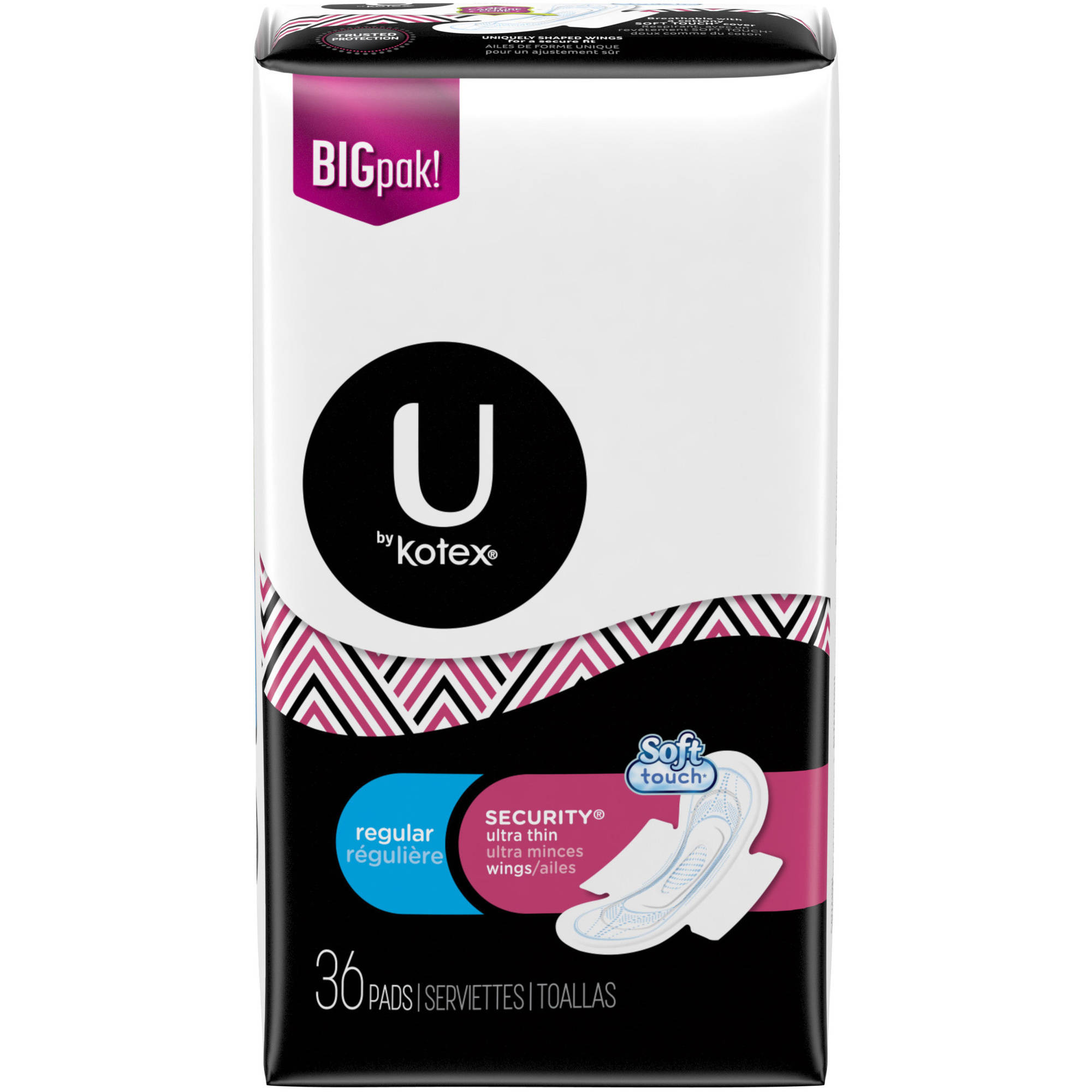U By Kotex Security Ultra Thin Pads With Wings Regular Unscented