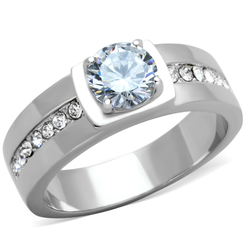 Men's 1.75 Ct Round Cut Cubic Zirconia, Silver Stainless Steel Ring Size 10