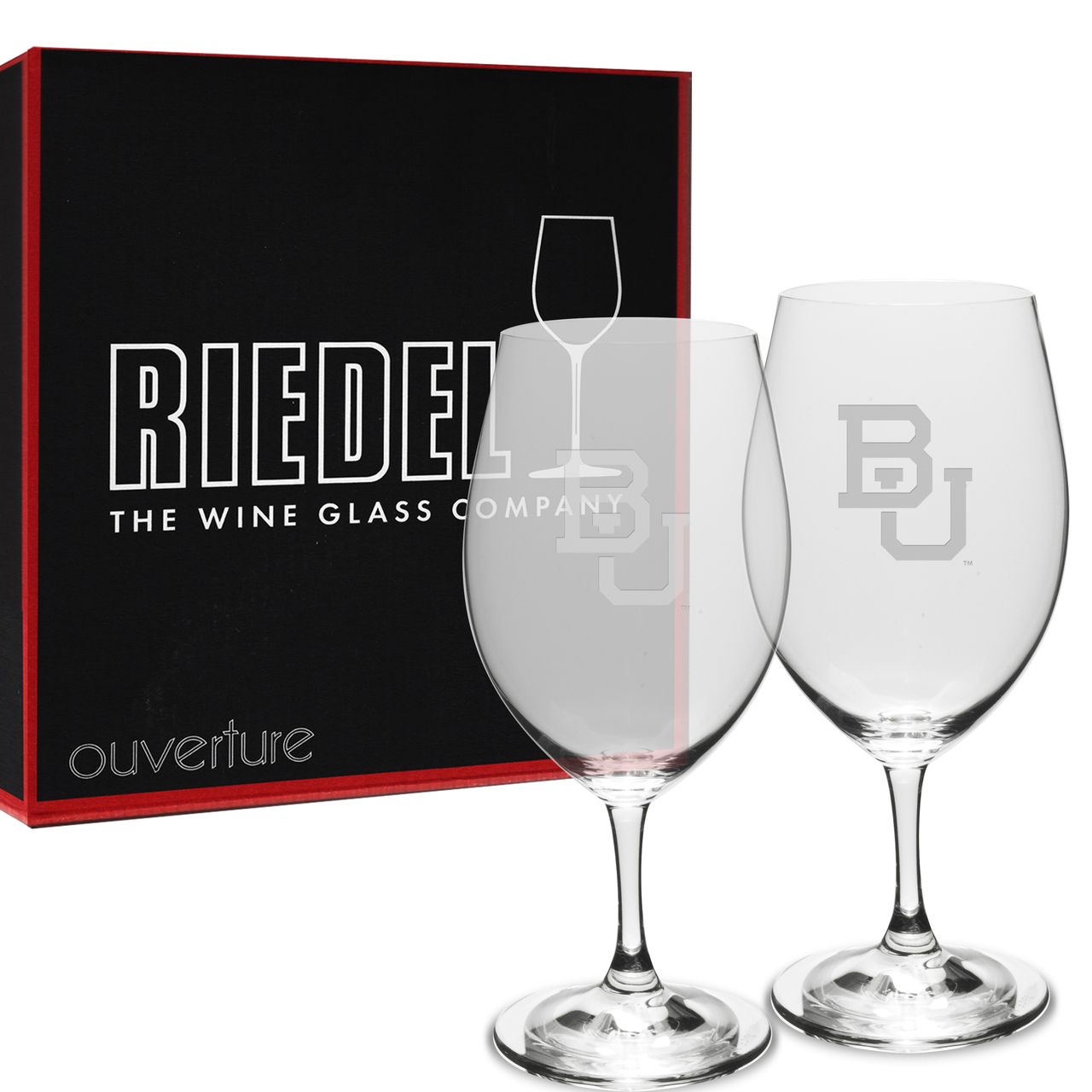 Boston University Riedel - 18 oz. Deep Etched Red Wine Glass - 2 PACK