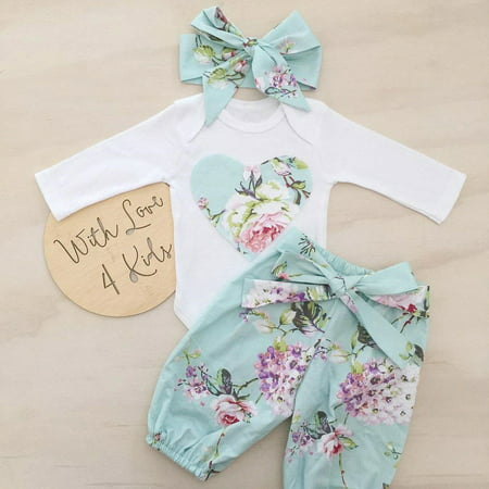 Newborn Kid Baby Girl Floral Clothes Jumpsuit Romper Bodysuit Pants Outfit Set Y - 50s Girl Outfit