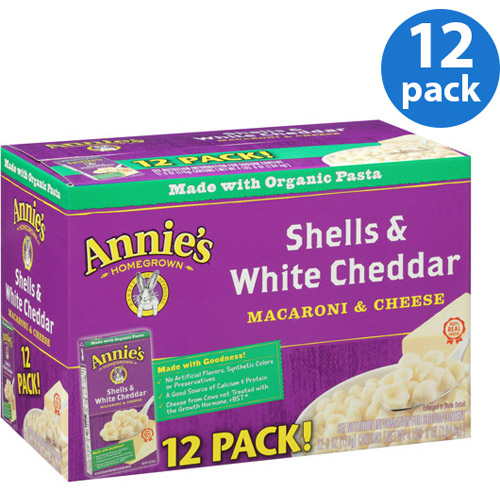Annie's Homegrown Shells & White Cheddar Macaroni & Cheese, 6 oz, Pack of 12