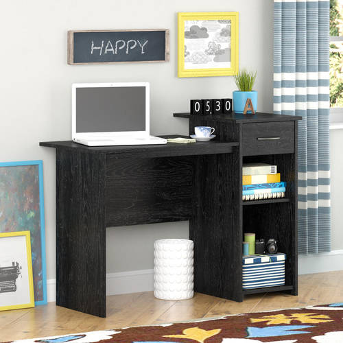 Black Compact Student Computer Study Desk With Shelves And Storage Drawer
