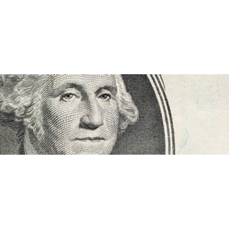 Details of George Washingtons image on the US dollar bill Stretched Canvas - Panoramic Images (18 x