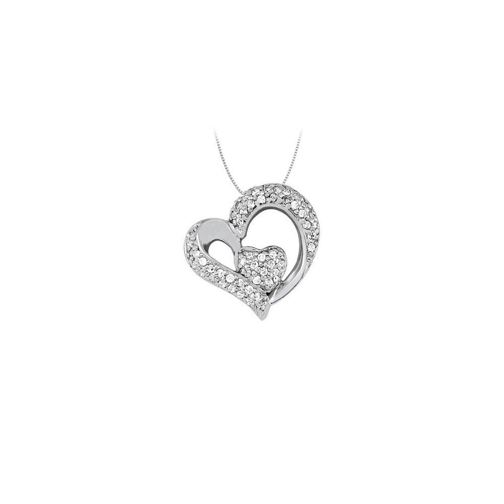 April birthstone Cubic Zirconia Heart Pendant in Sterling Silver 0.33 CT TGW - image 2 de 2