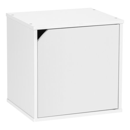 IRIS BAKU Modular Wood Cube Box with Door, White