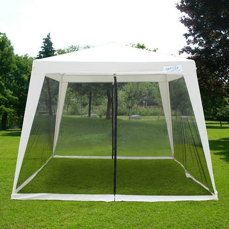 Quictent Outdoor Canopy Gazebo Party Wedding tent Screen House Sun Shade Shelter with Fully Enclosed Mesh Side Wall (10'x10'/7.9'x7.9', (Mesh Side Wall)