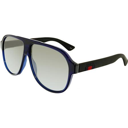 Gucci GG0009S-004-59 Blue Aviator Sunglasses