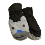 Aquarius Toddler Boys Black & Gray Bear Waterproof Snow & Ski Mittens