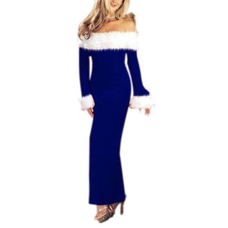 HIMONE Women Christmas Dress Off Shoulder Long Sleeve Party Cocktail Patchwork Fuzzy Ladies Autumn Xmas Red Long Elegant Party Dress Vestidos De Festa (Vestidos De Fiesta Largos)