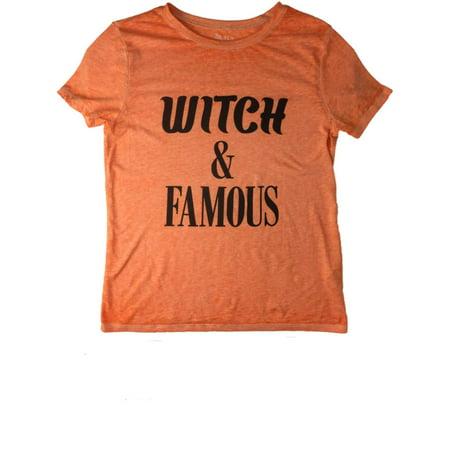 Womens Orange Heather Witch & Famous Tee Shirt Halloween Screen - Famous Halloween