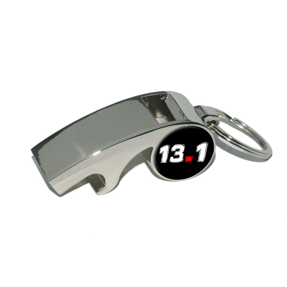 13.1 half marathon running on black Whistle Bottle Opener Keychain by Graphics and More