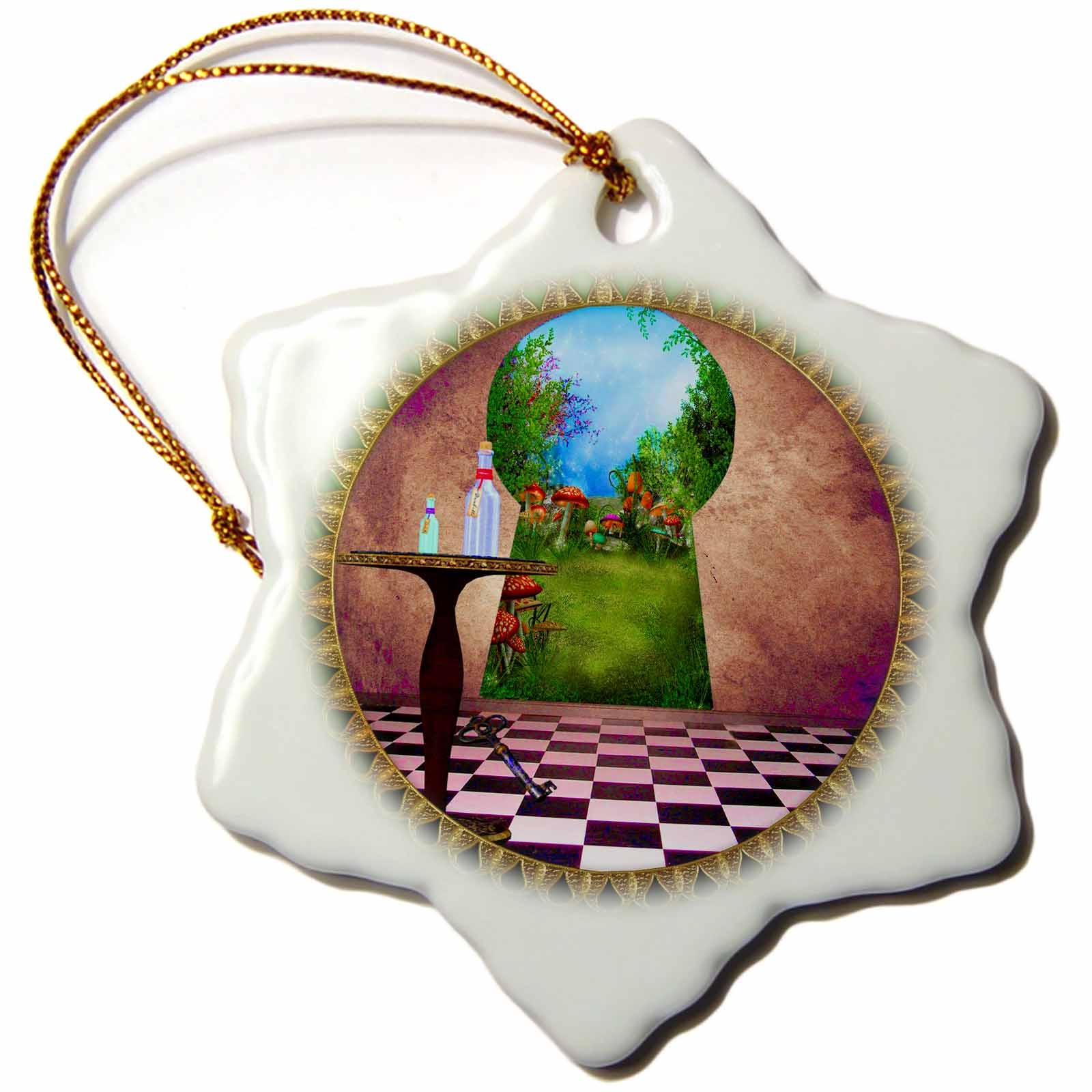 3dRose Through the keyholes Alice In Wonderland art checkered floor bottle of magic water, Snowflake Ornament, Porcelain, 3-inch