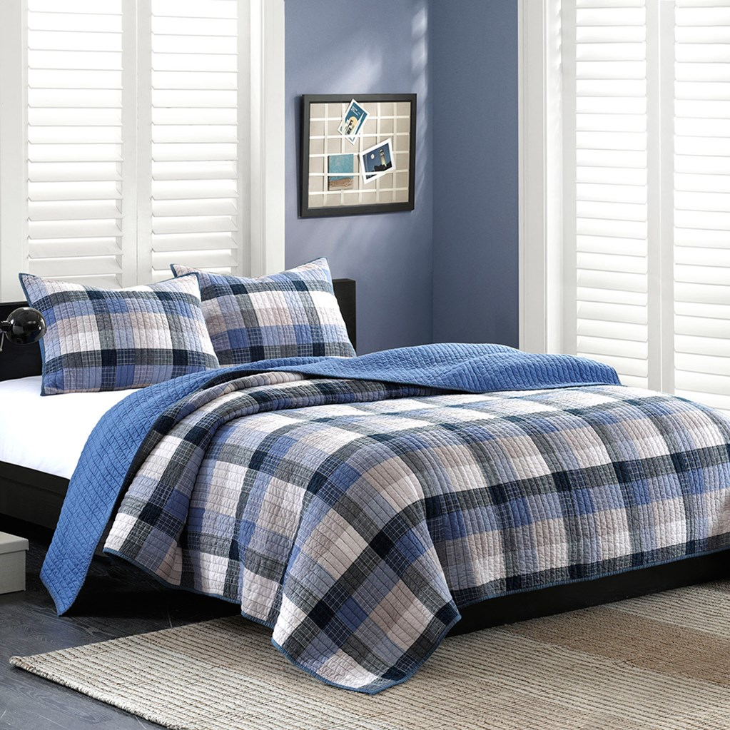 INK+IVY Maddox Coverlet Set In Blue - (King)