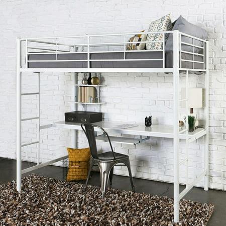 Walker Edison Metal Twin Loft Bed with Workstation -