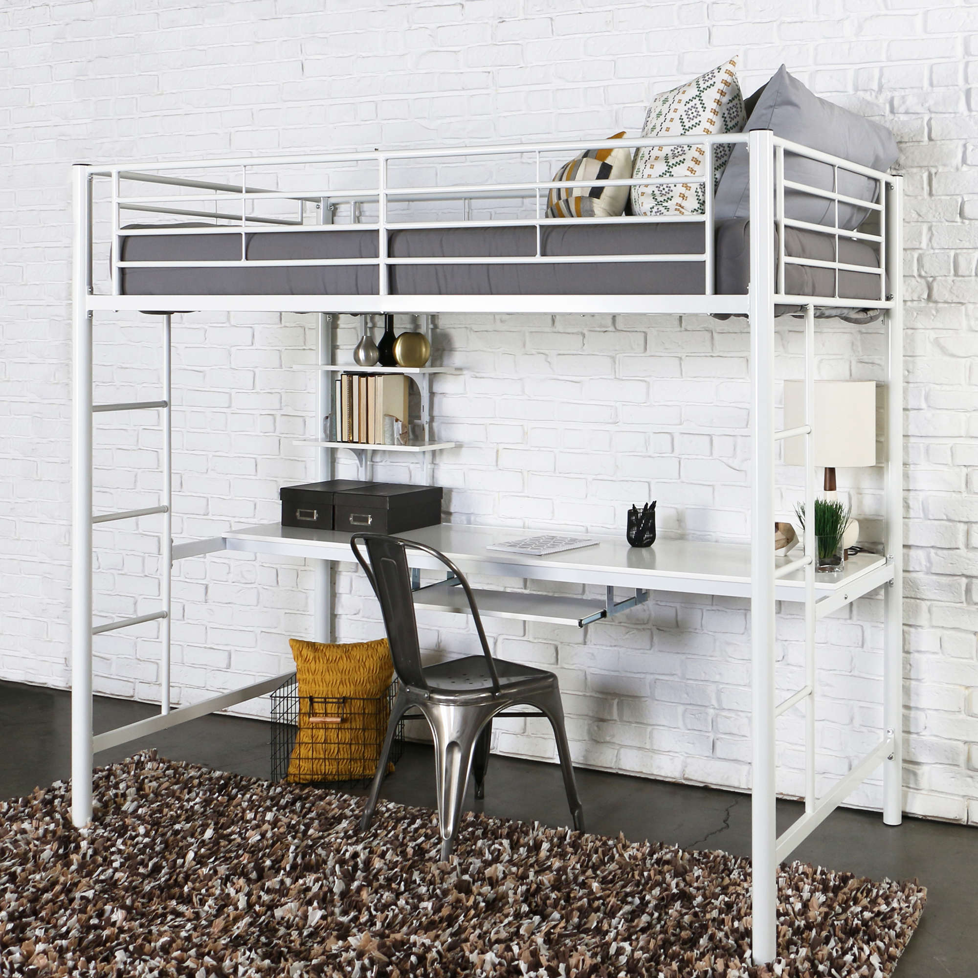 Walker Edison Metal Twin Loft Bed with Workstation - White