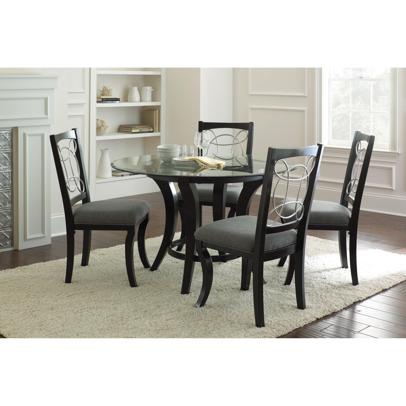 Steve Silver Cayman Glass Top Dining Table - Black