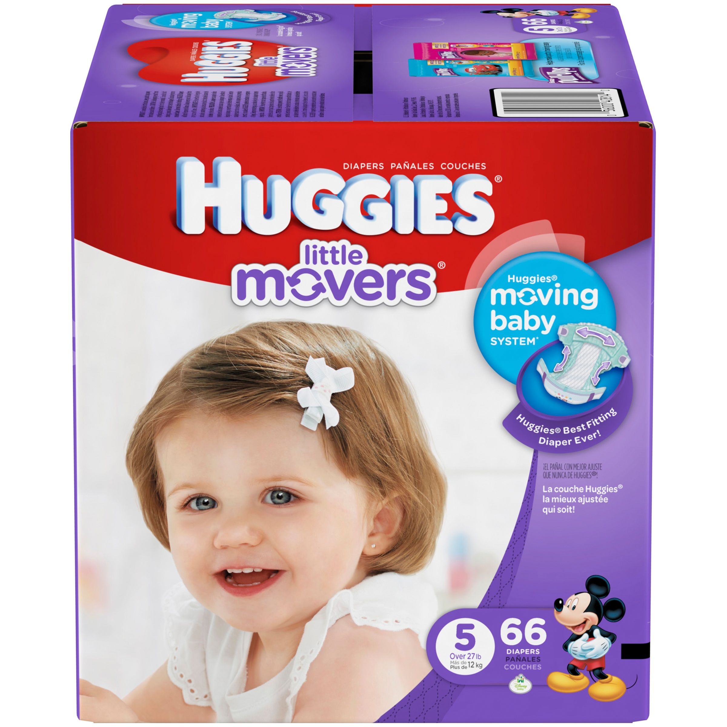 HUGGIES Little Movers Diapers, Size 5, 66 Diapers