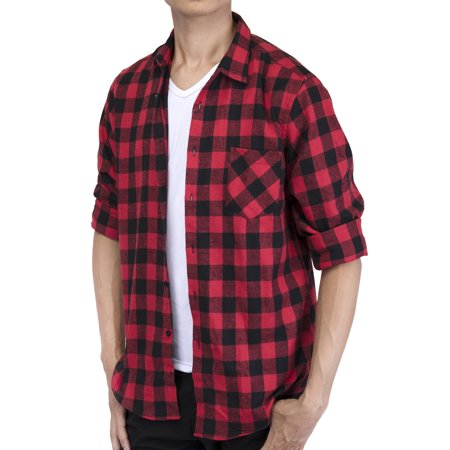 LELINTA Men's Long Sleeve Plaid Shirt Flannel Plaid Shirt Mens Casual Button-down Shirts Workshirt Red Black (Grey Plaid Long Sleeve Flannel)