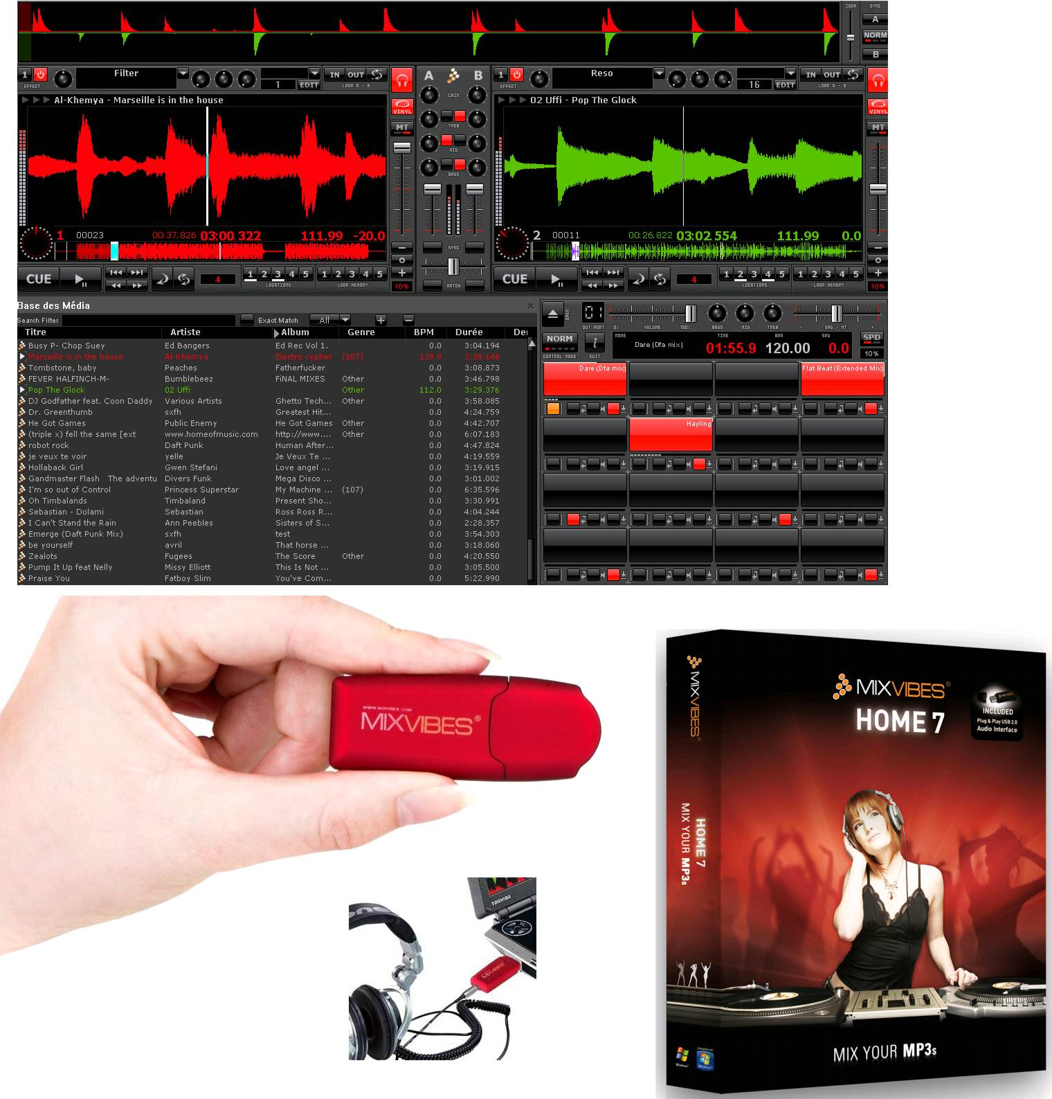 Mix Vibes Home7 Dj Software + Usb Audio Interface For Free! Mixing Your Favorite Songs Has... by Mixvibes