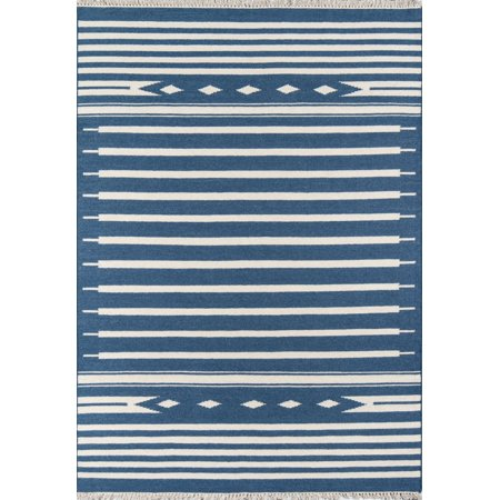 Erin Gates by Momeni Thompson Billings Denim Hand Woven Wool Area Rug 2' X 3' 3' Hand Hooked Wool Rug