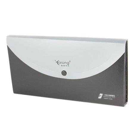 - Unique Bargains Plastic Button Closure Black Silver Tone 13 Sections Bills Holder File Folder