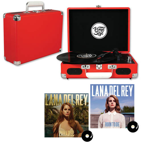 Red Vinyl Styl Groove Portable Turntable with your choice Vinyl