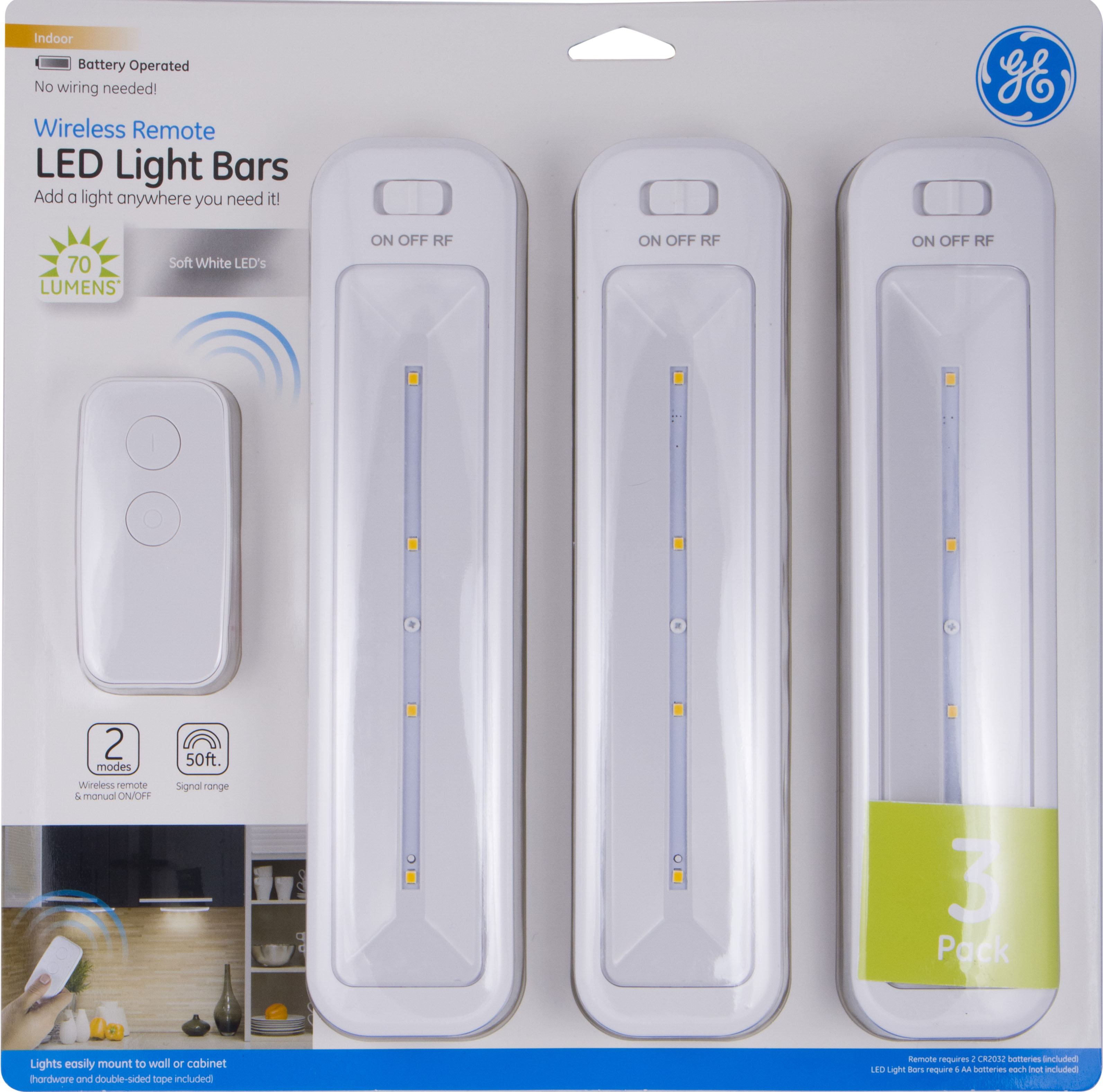 Great GE Wireless Remote LED Light Bars, Battery Operated, White, 3 Pack, 38558    Walmart.com