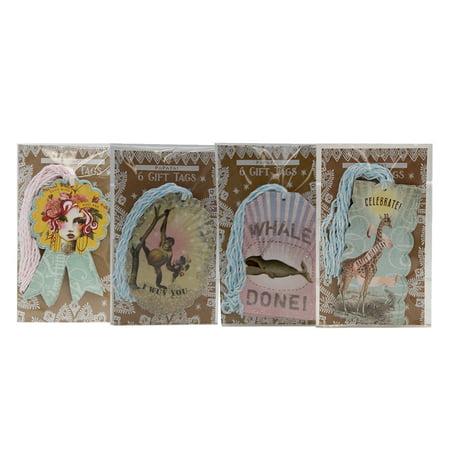 Papaya Art Glitter Gift Tag Set: Girl, Monkey, Whale, & Giraffe (24 (Glitter Tags)