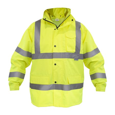 JORESTECH Heavy Duty Safety Rain Jacket (L) Waterproof Reflective High Visibility with Detachable Hood and Interior Mesh Yellow/Lime ANSI Class 3 Level 2 Type R PPE Heavy Duty Raincoats