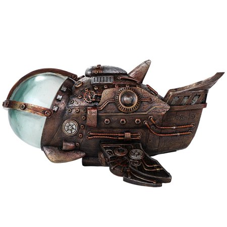 Steampunk Universe Space Exploration Spaceship Collectible Sci Fi Fantasy Figurine with Color Changing LED Lights Battery Operated 9.5 Inches
