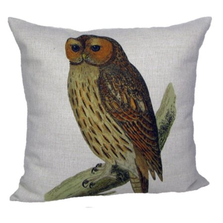 """Vintage Springtime Owl Antique Style Decorative Accent Throw Pillow with Insert 18"""""""