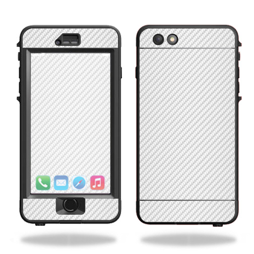 Skin For Lifeproof Nuud iPhone 6s Plus Case – White Carbon Fiber | MightySkins Protective, Durable, and Unique Vinyl Decal wrap cover | Easy To Apply, Remove, and Change Styles | Made in the USA