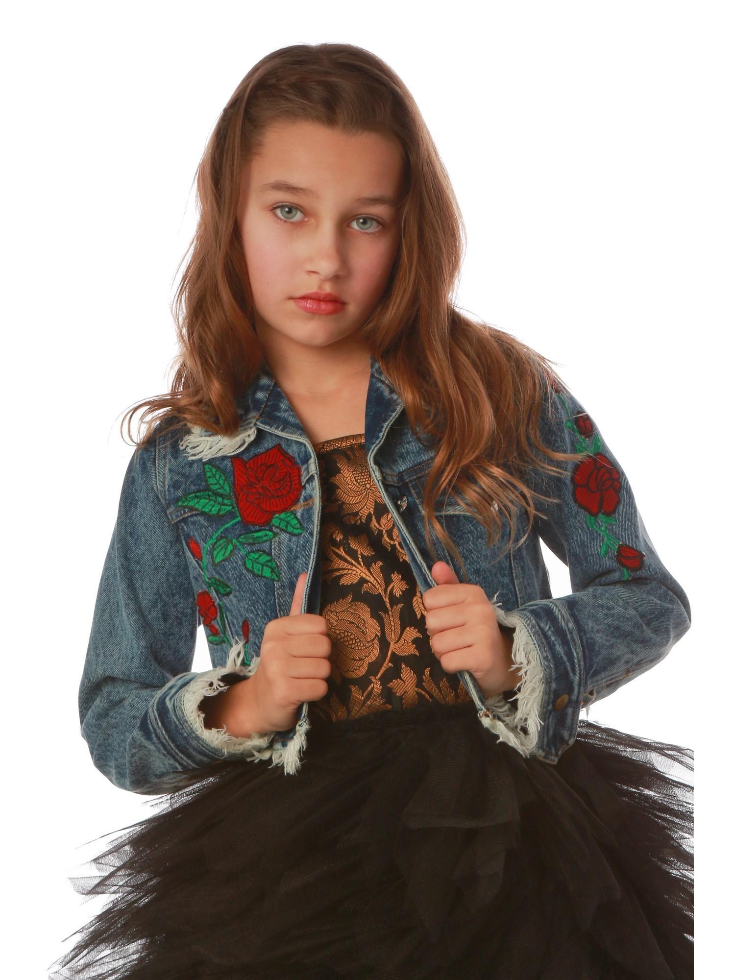Ooh! La, La! Couture Girls Blue Red Rose Embroidered Denim Jacket
