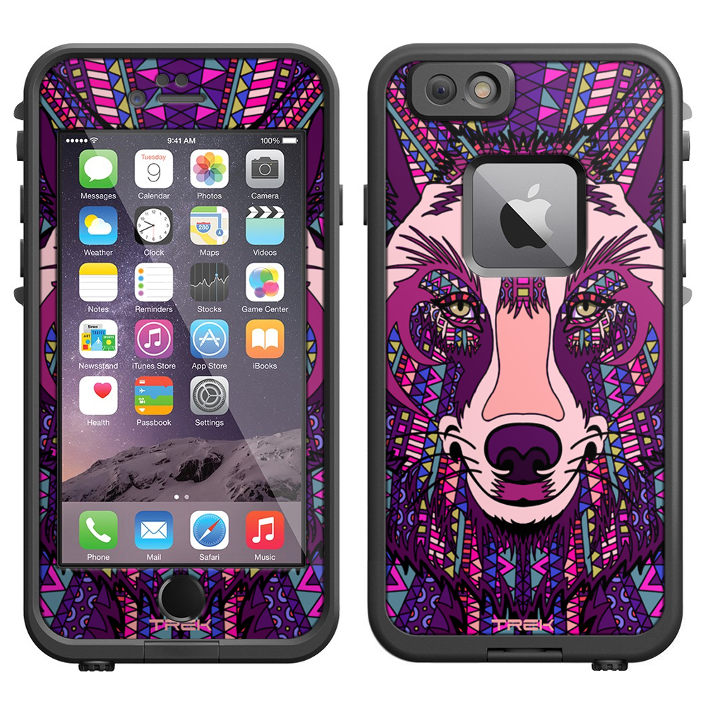 SKIN DECAL FOR LifeProof Apple iPhone 6 Case - Aztec Wolf Head Purple DECAL, NOT A CASE