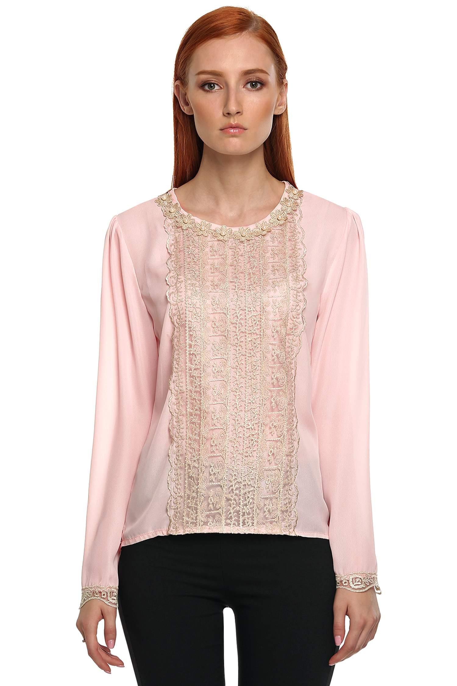 Women Summer Fold Casual Chiffon Long Sleeve Shirt Tops Blouse