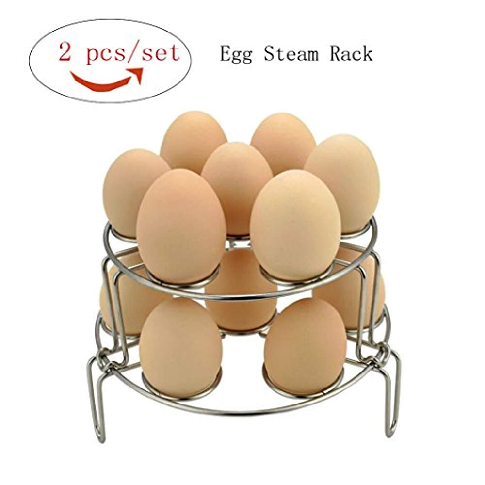 Squad Marketing Stackable Egg Steamer Rack Trivet New 304 Stainless Steel Stackable Cooker, Multipurpose Cooking Tools For Instant Pot And Pressure Cooker, 2 Pack