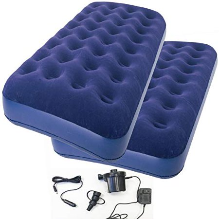 2-Piece of Zaltana Twin Size Air Mattress with Two Way Electric air Pump (Including Both car Charger & Wall Plug) (AMNx2+APE)
