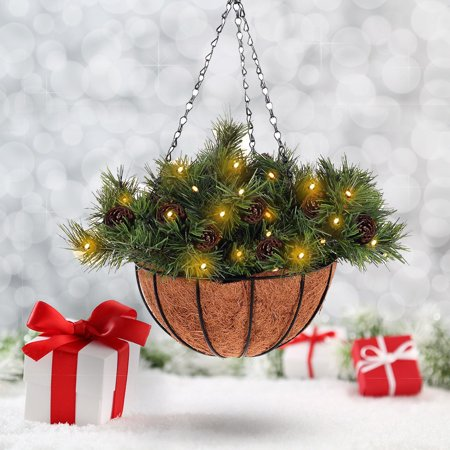 Costway 12-inch Hanging Basket Christmas Decor Battery-operated LED Lights & Pine (Best Brand Of Led Christmas Lights)