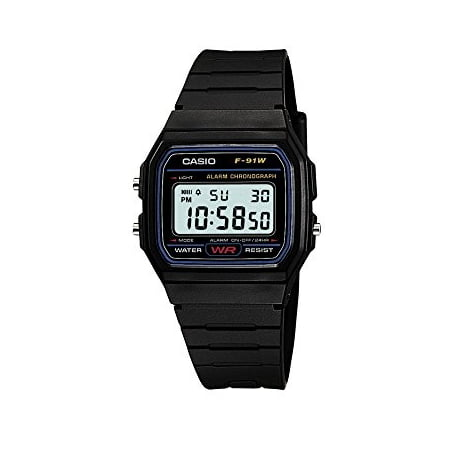 casio casual black resin digital watch f91w