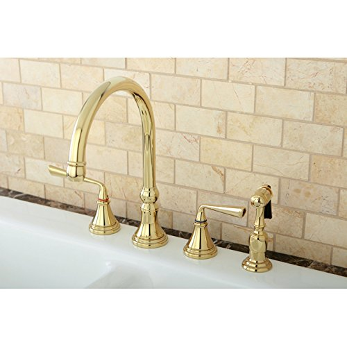 Polished Brass 4 Hole Kitchen Faucet And Brass Sprayer Walmart Com