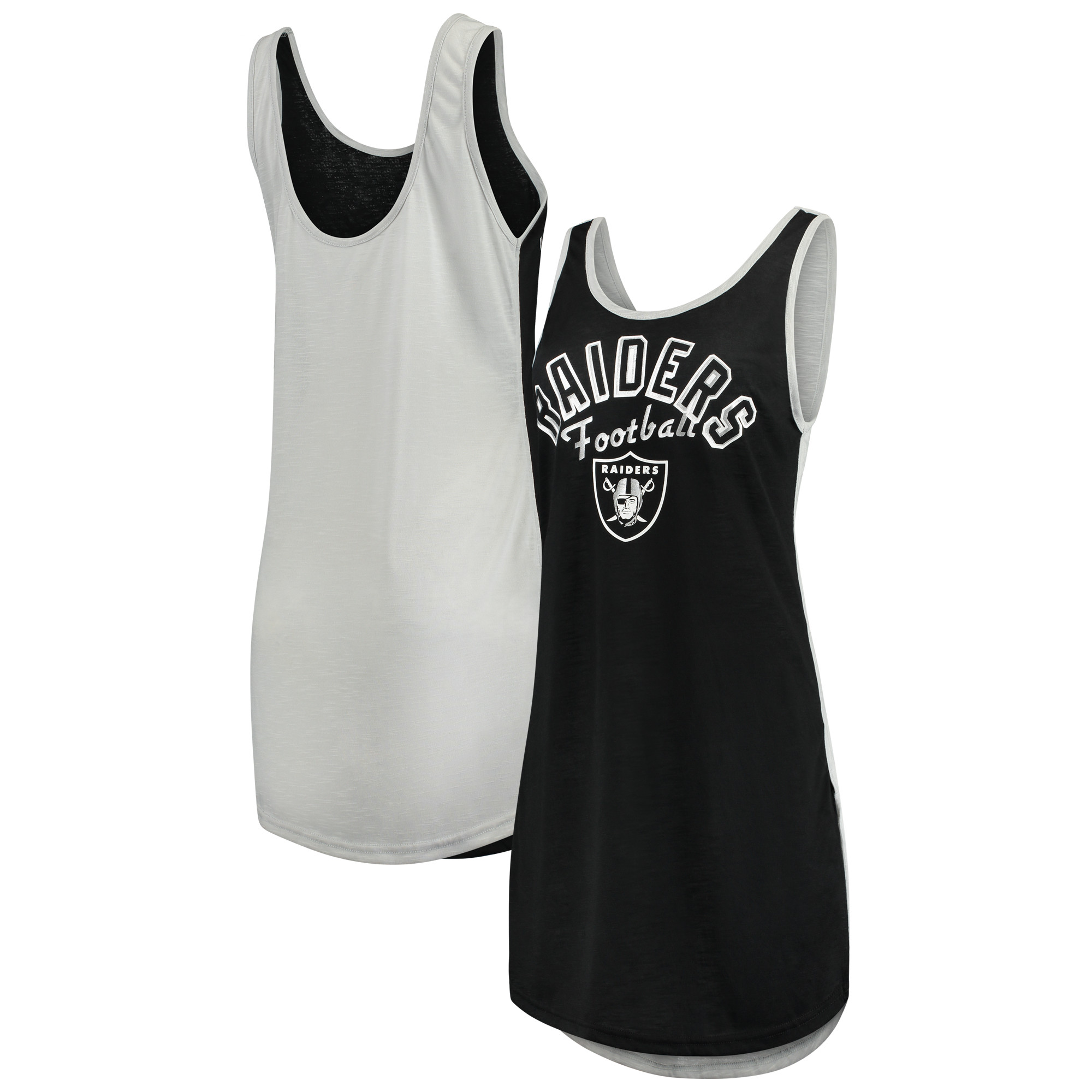 Oakland Raiders G-III 4Her by Carl Banks Women's Making Waves Fair Ball Cover Up - Black/Silver