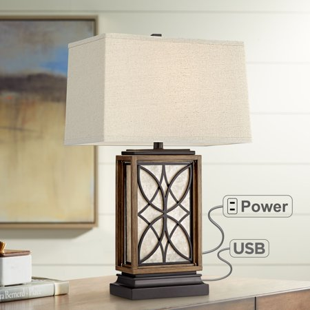 Super Franklin Iron Works Rustic Table Lamp With Usb And Ac Power Outlet In Base Led Nightlight Bronze Oatmeal Shade For Living Room Download Free Architecture Designs Embacsunscenecom
