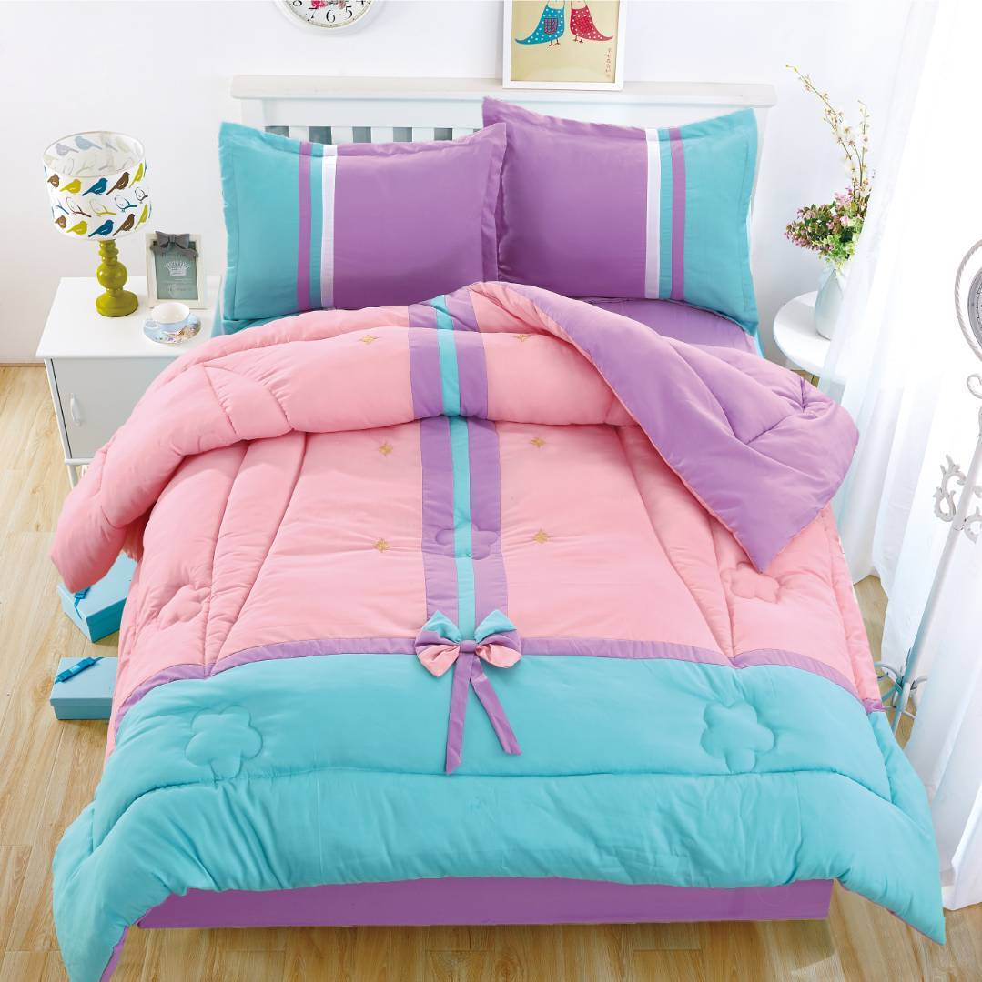 Traditional Floral Cotton Touch Kids Comforter Set W/ Sheet - Turquoise & Rose - Twin Size