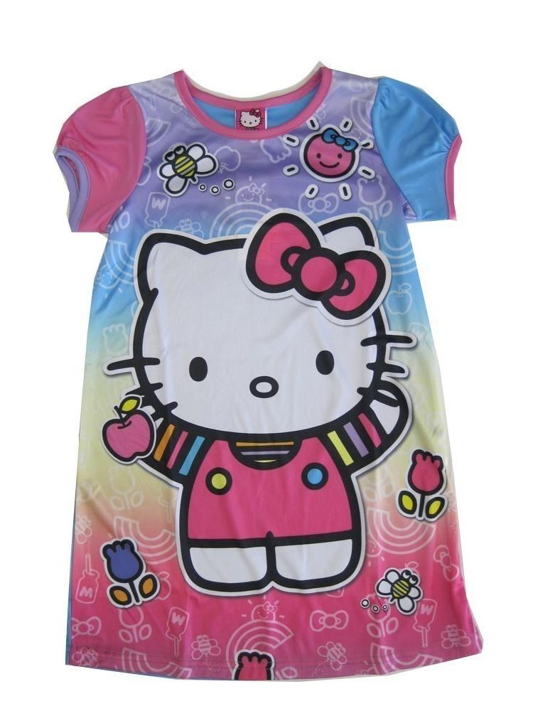 Sanrio Little Girls Pink Blue Hello Kitty Print Short Sleeved Nightgown 6