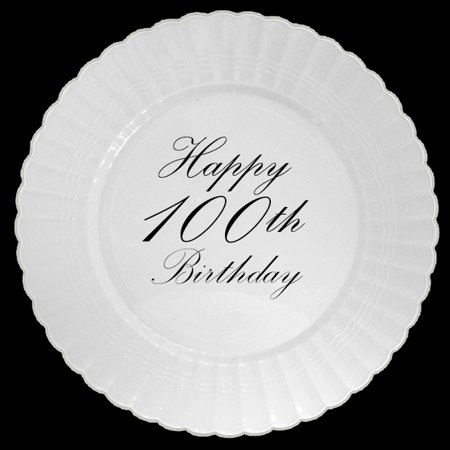 100TH CLASSY BLACK PLASTIC DINNER PLATE (8 COUNT) by Partypro - Black Plastic Dinner Plates
