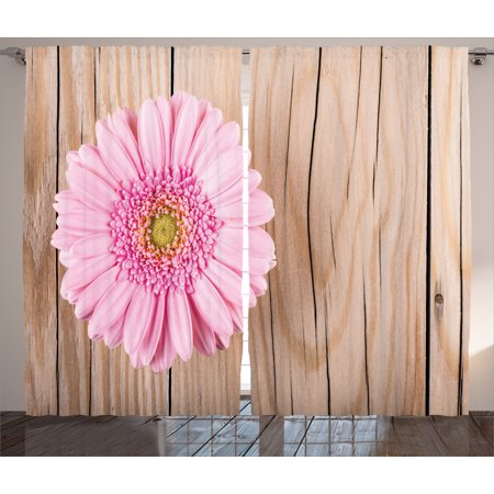 Rustic Home Decor Curtains 2 Panels Set, One Large Gerbera Daisy on Oak Back Dramatic South American Exotic Photo, Window Drapes for Living Room Bedroom, 108W X 84L Inches, Pink Brown, by Ambesonne