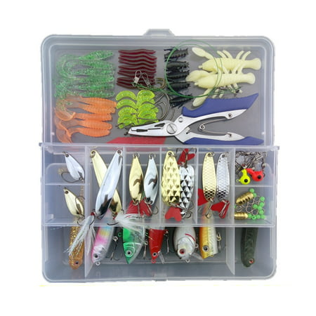 Flying Tackle (108pcs Fishing Lure Worms Earthworm Cricket Lures Swivels Pincers Kit Fish Tackle Set )