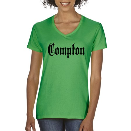 New Way 441 - Women's V-Neck T-Shirt Compton Old English Nwa Straight Outta - Nwa Halloween