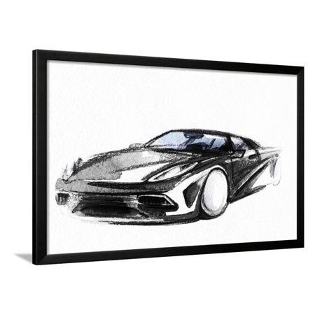 Car Art Sketch Sport Car Pencil Drawing Framed Print Wall Art By