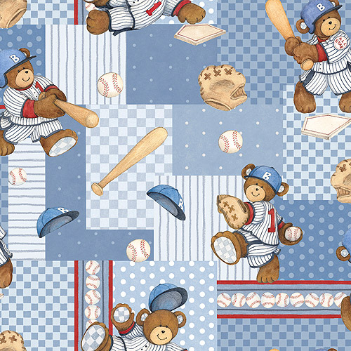 Billy Bear At Bat Patch Fabric